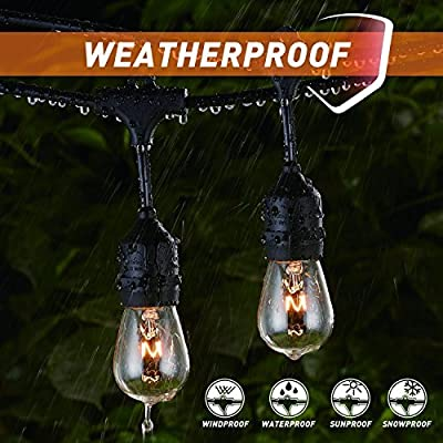 Outdoor String Lights 48Ft Edison Vintage Commercial Grade Lights with 15xE26 Base Sockets & S14 Bulbs, Wheatherproof Connectable Strand for Porch Garden Deck Backyard Cafe Bar Wedding Party, Black