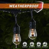 Outdoor String Lights 48Ft Edison Vintage Commercial Grade Lights with 15xE26 Base Sockets & S14 Bulbs, Wheatherproof Connectable Strand for Garden Porch Deck Backyard Cafe Bar Wedding Party, Black ¡