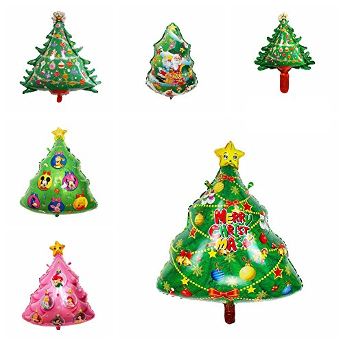 Christmas Tree Latex Foil Aluminum Balloons Set House Party Decoration (Pack of 6) (Abc Halloween Shows 2017)