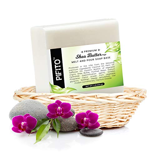 Pifito Premium Shea Butter Melt and Pour Soap Base (2 lb) - 100% Natural Glycerin Soap Base - Luxurious Soap Making Supplies