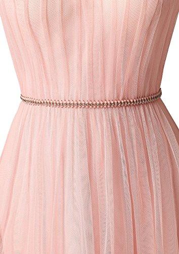 Vickyben Damen Elegant langes A-Linie Halter Perlen Tulle Abendkleid Ballkleid Brautjungfernkleid Koenigblau mGW2H2
