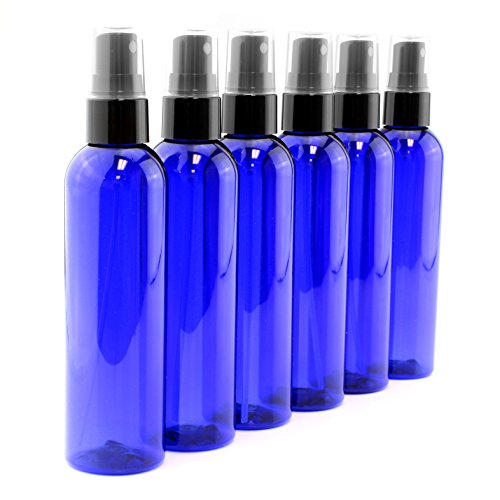 - 4oz Cobalt Blue Empty Plastic Refillable PET Spray Bottles w/Fine Mist Atomizer Caps (6-Pack); Sprayers for DIY Home Cleaning, Aromatherapy, Travel, On-The-Go & Beauty Care (4 Ounce, Cobalt Blue, 6)