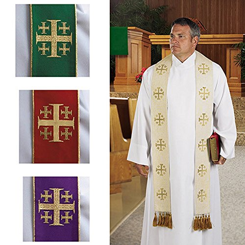 Clergy Clothing, Jerusalem Cross Overlay Stole Set of 4 Colors (Cross Overlay Stole)