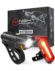 Powerful BX-300 CREE L2 Bike Light Set USB Rechargeable Front Headlight w/Amber Side Alert + Bonus Free Rear LED Bike Light