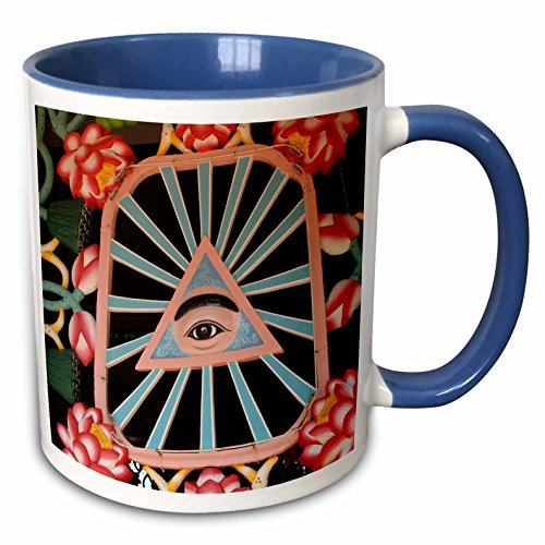 - 3dRose Danita Delimont - Windows - Vietnam. Cao Dais left eye, Tay Ninh Holy See, Cao Dai Temple. - 15oz Two-Tone Blue Mug (mug_226093_11)
