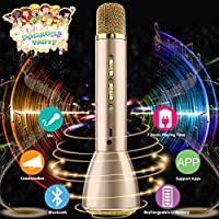 Microphone for Kids, Wireless Karaoke Microphone for Singing, Bluetooth Child Echo Portable Karaoke Mic Machine Cordless with Speaker for Boys Girls Adult Party Music Playing Gift Android IOS Phone