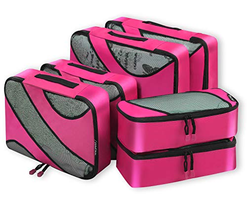6 Set Packing Cubes,3 Various Sizes Travel Luggage Packing Organizers Fushcia (Light Double Handle Bag)