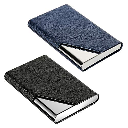Gowall 2 Pack Professional Business Card Holder PU Leather Business Card Case Slim Design Stainless Steel Card Holders for Men & Women, Magnetic Shut, Keep Business Cards in Immaculate -