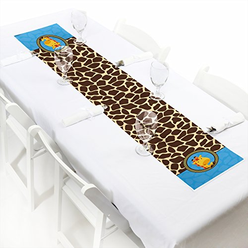 Giraffe Boy - Petite Baby Shower or Birthday Party Paper Table Runner - 12'' x 60'' by Big Dot of Happiness