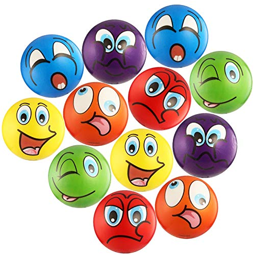 "Akusety Silly Stress Ball, 12 Party Favor Balls (2.5"") Squeeze Toy to Release Stress"
