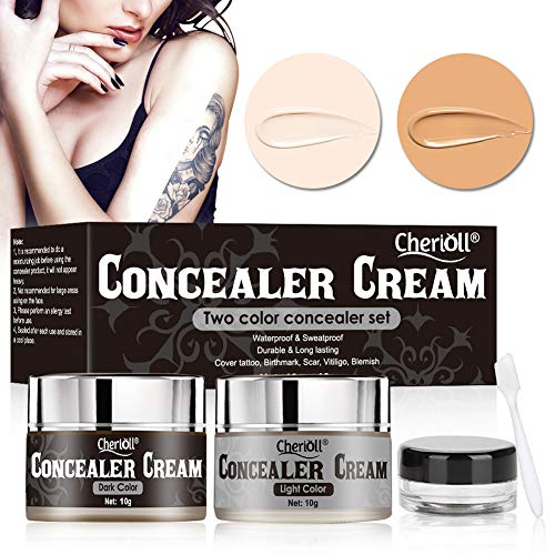 Tattoo Concealer, Concealer Cream, Body Concealer, Cover Tattoo, Birthmark, Scar, Vitiligo, Blemish, Waterproof and Sweatproof, Long Lasting, Two Colors Tattoos Cover Up Makeup Concealer Set