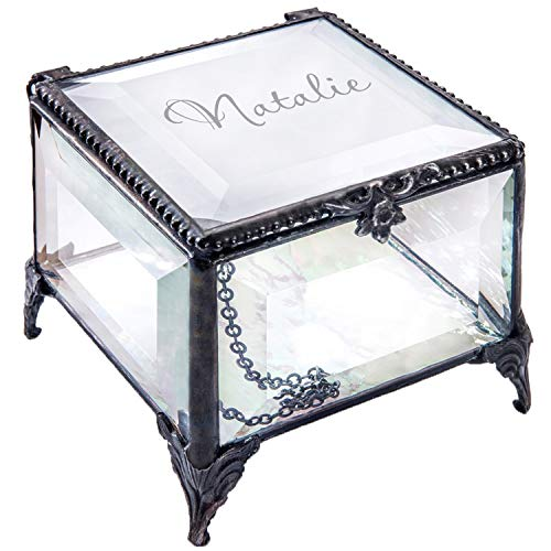 - J Devlin - Ellen Series - Personalized 3x3 Stained Glass Box Keepsake Decorative Trinket Jewelry Gift (Clear Beveled)