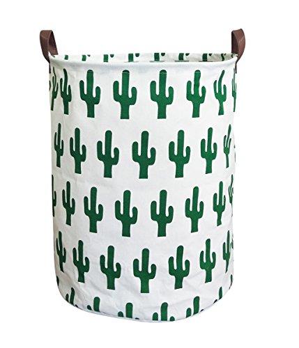 ESSME Laundry Hamper,Collapsible Canvas Waterproof Storage Bin for Kids, Nursery Hamper,Gift Baskets,Home Organizer(Cactus)