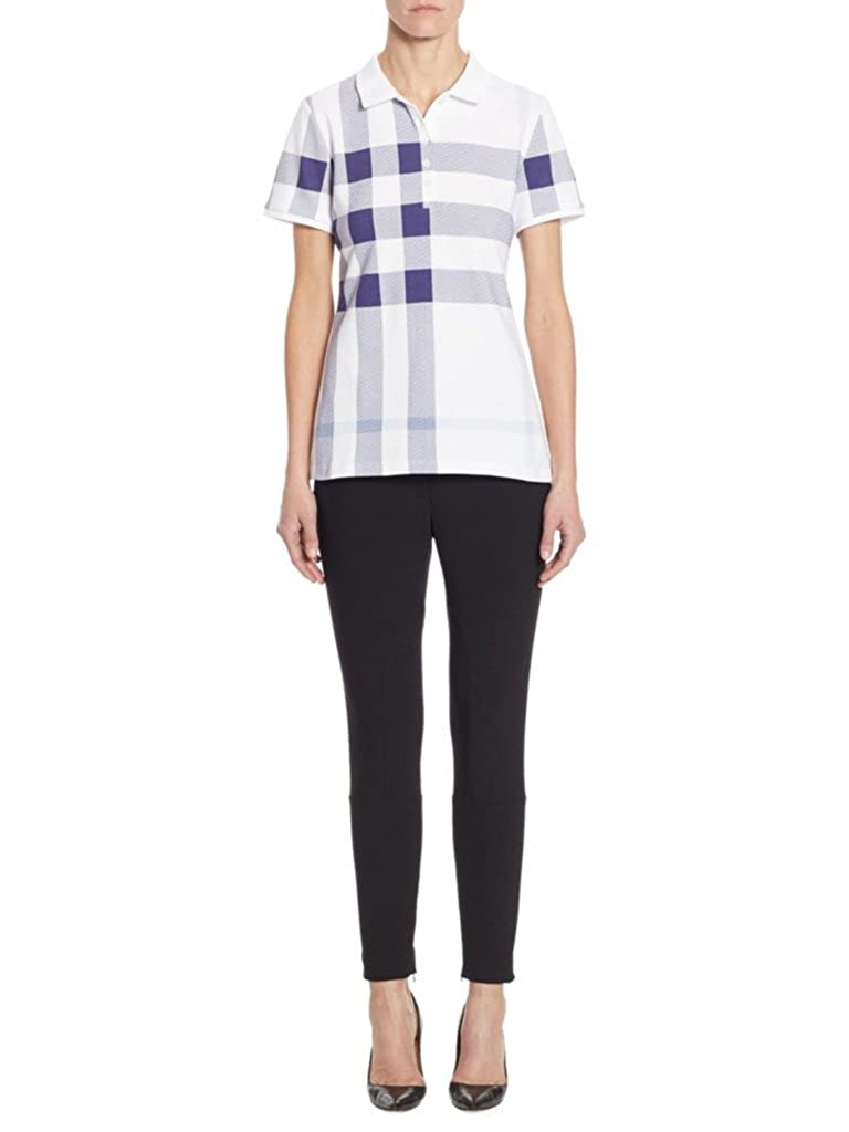 Burberry Womens Isna Check Print Stretch Cotton Polo Shirt In Pale