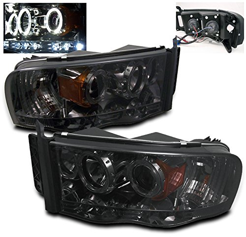 ZMAUTOPARTS Dodge Ram 15/ 25 35 Pickup Halo LED Projector Headlights Smoke (02 Dodge Ram Halo Headlights compare prices)