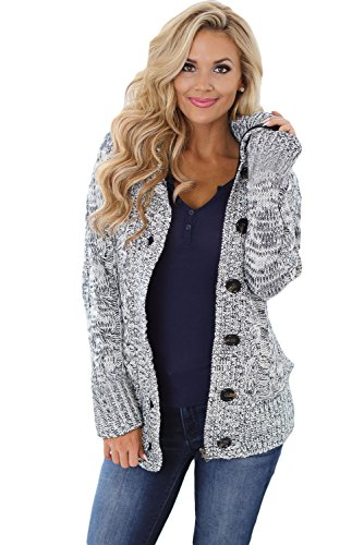 - Women Hooded Knit Cardigans Button Cable Sweater Coat Grey S