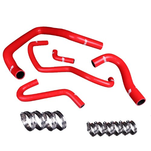 Upgr8 JDM Integra High Performance 4-ply Radiator and Heater Silicone Hose Kit (Red) (Hose Ancillary)