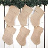 Set of 6 Burlap Rustic Christmas Stocking - 12 inches Tall By Jubilee Creative Studio
