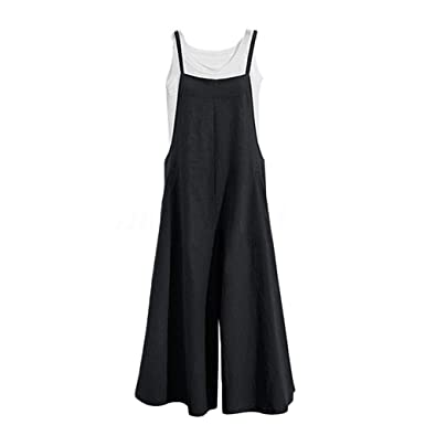 8ac5e93336ee8 Hulaha Womens Baggy Bibs Casual Cotton Overalls Plus Size Suspender Jumpsuit