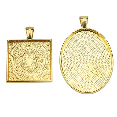 JETEHO Oval & Square Pendant Trays - Alloy Pendant Blanks Cameo Bezel Settings for Custom Jewelry Making(Gold, - Gold Square Settings