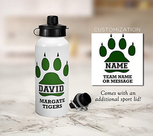 (Tigers Team Sports Water Bottle - Kids Personalized Gift - Gift for Kids - Aluminum Water Bottle - School, Sports, Football, Soccer, Team Sport, Basketball, Baseball, Karate, Hockey, Team Spirit)