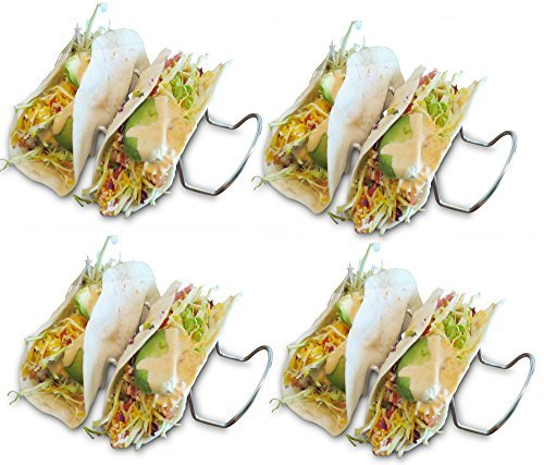 Taco Tuesday Taco Holders (4 PACK - 3 TACO HOLDER) Family Dinner ideas = Taco Time! Best Taco Holder Easy to Clean- Includes Taco Recipes -Holds Hard and Soft Taco Shell- Stand Up Taco Rack