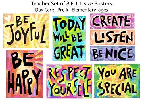 Motivational Posters Teacher School Classroom (set of 8) School Office Bulletin Board Success Positive Thinking Quote Décor ()