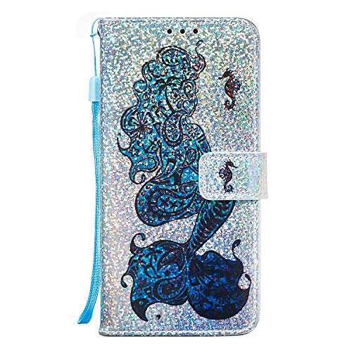 (Maoerdo Glitter Bling Wallet 3D Flip Cover PU Leather Stand Case with Strap for Samsung Galaxy J7 Refine/J7 2018/J7 Star/J7 Top/J7 Aura/J7 Aero/J7 Crown/J7 Eon Glitter/J7 V 2nd Gen,Mermaid )