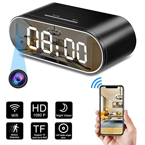 Spy Camera, 1080P Hidden Camera Clock WiFi Video Recorder 140° Wide Angle Lens Wireless IP Cameras for Indoor Home Security Monitoring Nanny Cam with Night Vision Motion Detection (Black)