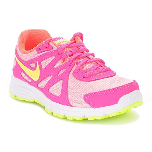 Nike Revolution 2 (GS) Running Trainers 555090 Sneakers Shoes (4 Big Kid M, white liquid lime pink power 100) by NIKE
