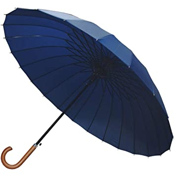 Women Large Quality Windproof Fibre Glass Umbrella Blue Navy