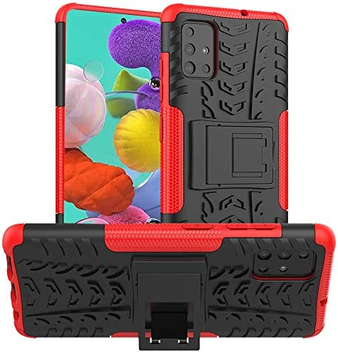 ALDHOFA Case for Samsung Galaxy A51(4G Version),Heavy Duty Shock Proof Protective Phone Case,Dual Layer Hybrid Cover with Kickstand for Samsung A51-Red