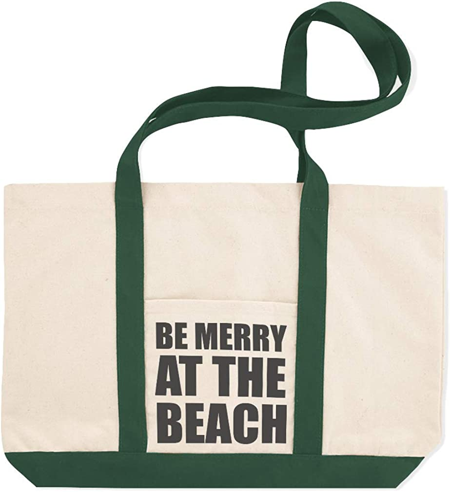 Canvas Shopping Tote Bag Be Merry at The Beach Holidays and Occasions Christmas Beach for Women