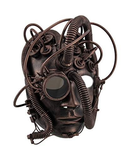 Steampunk Cyborg Costume (Zeckos Man Droid Full Face Steampunk Cyborg Mask w/Goggle)