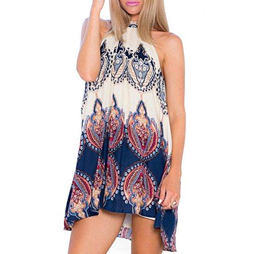 ROMANTIC BEAR Frauen Sommer Sommerkleid Boho Armellose Abend Party Strand Blumen Minikleid