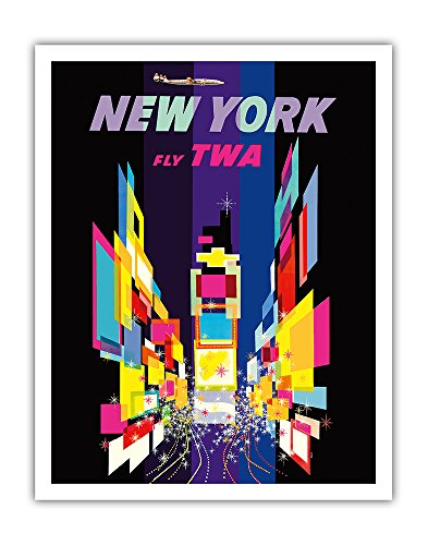 New York - Fly TWA - Times Square - Lockheed Constellation Connie - Vintage Airline Travel Poster by David Klein c.1960s - Fine Art Print - 11in x 14in Constellation Airline