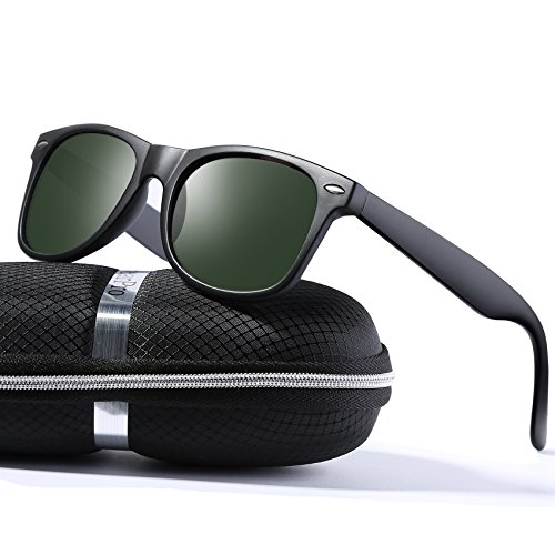 wearPro Wayfarer Sunglasses for Men Women Vintage Polarized Sun Glasses WP1001 Matte/Green