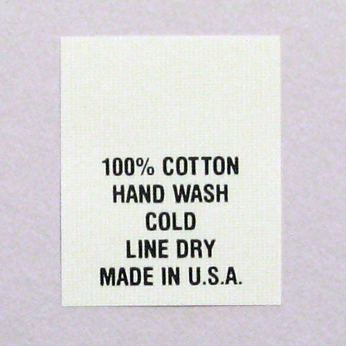 Care Label Cotton (100% Cotton Hand Wash Line Dry Printed Care Labels (Package of 100) Number 10)