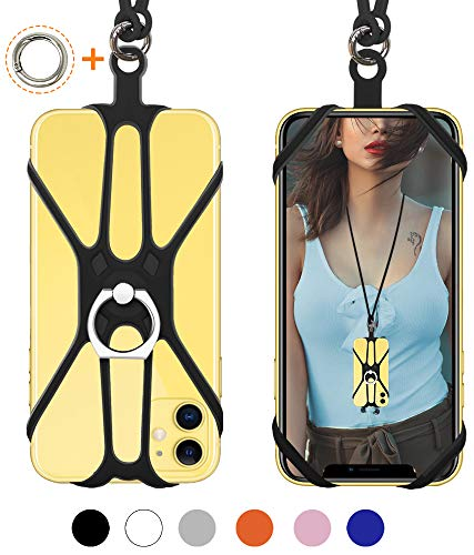 SHANSHUI Phone Lanyard, 2 in 1 Detachable Neck Strap Silicone Case Holder with Ring Stand Grip Compatible with iPhone, Samsung Galaxy and Most Smartphones (Black) (Best Cell Phone Carrier For Iphone)
