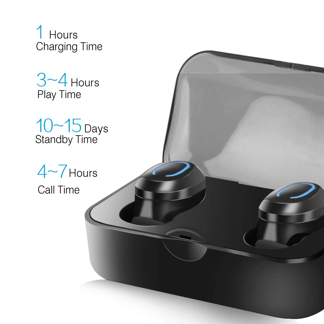 Bluetooth 5.0 Headphones TWS in-Ear 3D Noise Canceling Earphones,Wireless Headphones with Portable Charging Case and Built-in Mic Bluetooth Headphones IPX7 Waterproof Headset for Gym Running Riding