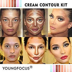 Youngfocus cream contour makeup-palette kit 8 colors cosmetics highlighting face contouring foundation concealer for hypoallergenic moisturizing light and breathable contour kit comprise contou