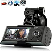 X3000 2.7 140° Dual Lens dash board camera car dvr black box video recorder + gps logger