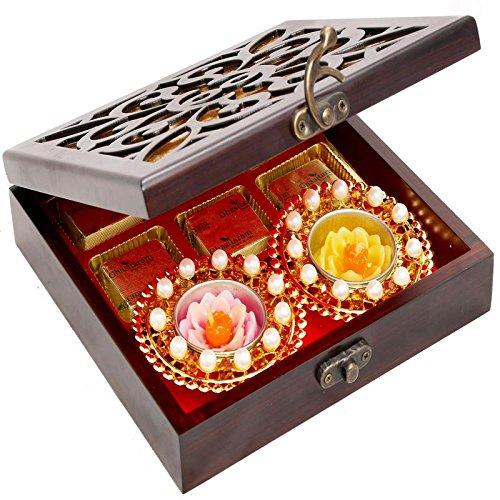 Ghasitaram Gifts Diwali Gifts Diwali Hamper- Lazer Wooden Jewellery Chocolates and 2 T-lites Box by Ghasitaram Gifts