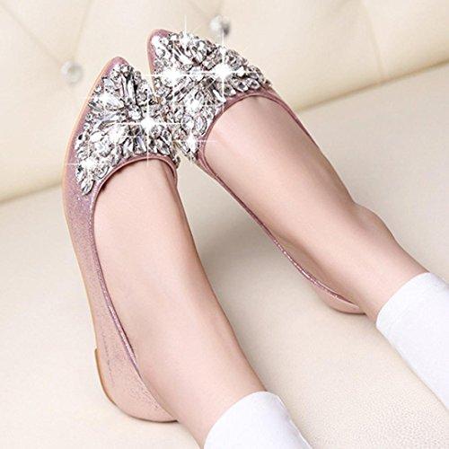 Hemlock Women Flat Shoes Pointed Toe Boat Shoes Female Rhinestone Shoes Slip-Ons Shoes (US:7.5, Pink)