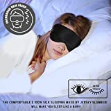 Jersey Slumber 100% Silk Sleep Mask For A Full Nights Sleep | Comfortable & Super Soft Eye Mask With Adjustable Strap | Works With Every Nap Position | Ultimate Sleeping Aid / Blindfold, Blocks Light
