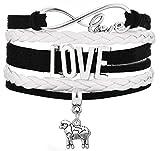 Legemeton Lovely Little Sheep Charm Multi-Layer Braided Woven Infinity LOVE Bracelets Fit For Gifts (Black)