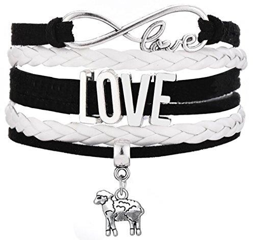 Legemeton Lovely Little Sheep Charm Multi-Layer Braided Woven Infinity LOVE Bracelets Fit For Gifts (Black) by Legemeton