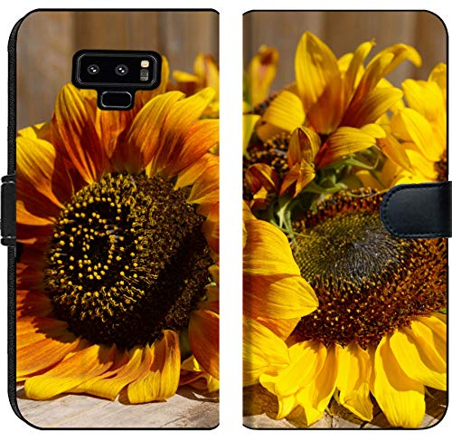 Samsung Galaxy Note 9 Flip Fabric Wallet Case Image ID 32455065 Beautiful Sunflowers on Wooden Bench Outdoors