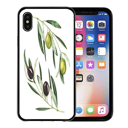 - Emvency Phone Case for Apple iPhone Xs Case/iPhone X Case,Alimentation Black Branch Olive White Watercolor Green Agriculture Antioxidant Soft Rubber Border Decorative, Black