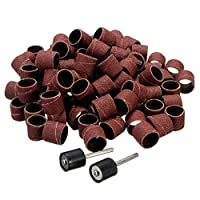 BESTOMZ 102pcs Sanding Bands Sleeves with Rubber Drum Mandrels Bits for Nail Drill Proxxon Foredom Rotary Tool 80 Grit
